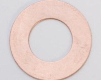 "Copper Washer 3/4"" Outside Diameter 3/8"" Inside Diameter  24ga PKG of 6 Great Stamping Accessory"