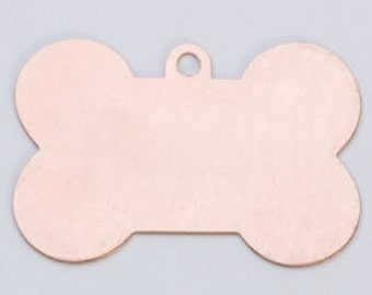 "Copper Dog Bone with Hole 1-5/8"" by 1""  24ga PKG of 6 Great Stamping Accessory"