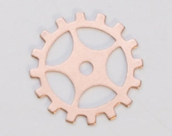 "Copper Gear with Spokes 3/4""  24ga PKG of 6 Great Stamping Accessory"