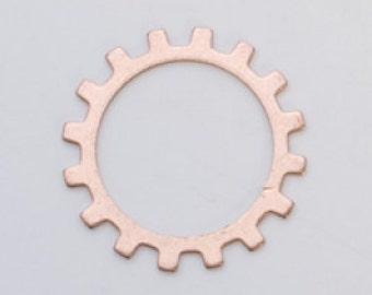 "Copper Open Gear 3/4""  24ga PKG of 6 Great Stamping Accessory"