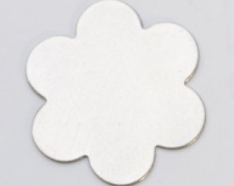 """Nickel Silver Flower with 6 Petals 7/8""""  24ga Pkg of 6  Great Stamping Accessory"""