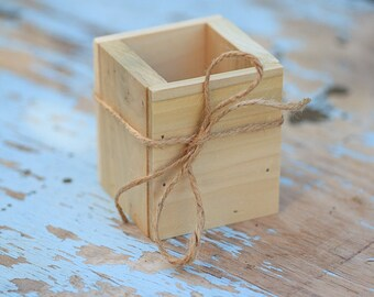 """Set of 4 --3x3"""" Poplar Planter Box - great for centerpieces."""