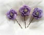 Lavander Roses with Clear Beads in the Center on a Bobby Pin