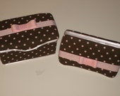 2 pc Pink and Brown Baby Diaper Wipe case Set Nursery and Travel Huggies Wipes Wet Wipe