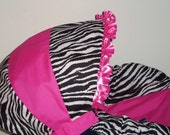 Zebra and hot pink baby car seat cover infant seat cover slip cover Graco fit Zebra and Hot pink