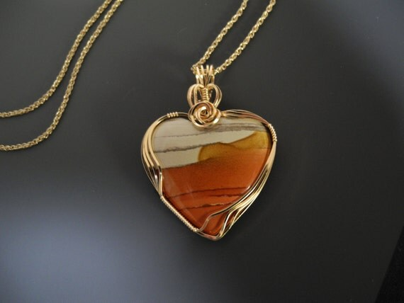 Bruneau Jasper Necklace, Wire Wrapped