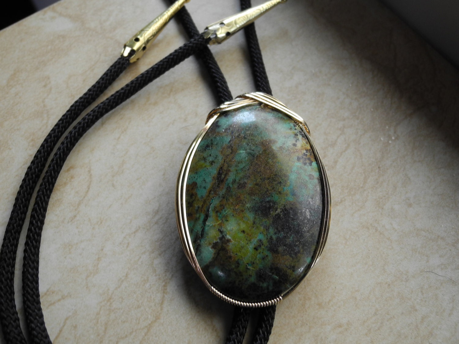 Western Bolo Tie Turquoise Chrysocolla Bolo By
