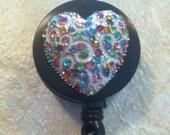 Ladies Silver Crystal Heart Sexy DIva art designer Badge reel retractable ID Badge Holder