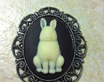 Chocolate Bunny Rabbit Brooch Vintage Victorian Cameo Easter Scarf Purse Charm