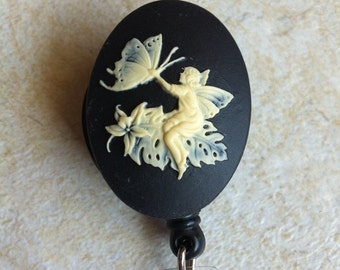 Ladies Cameo designer Badge reel retractable ID Badge Holder Key Card Fairy Tinkerbell Pixie