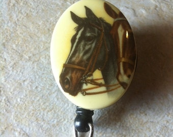 Badge Reel retractable ID Key Card Glasses Holder Victorian Teacher Nurse Horse Pony Equestrian