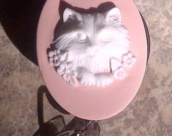 Badge REEL retractable ID Card Nurse Key Pink Cat Kitty Cameo