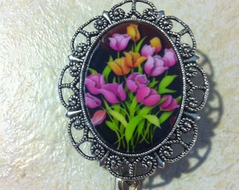 Tulips China cabochons Vintage Style Badge Reel retractable ID Key Card Glasses Holder Teacher
