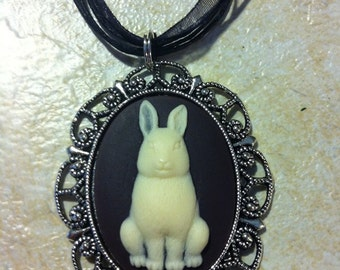 Chocolate Bunny rabbit Cameo Ladies Silver Filegre art designer Necklace Pendant Easter Mothers Day