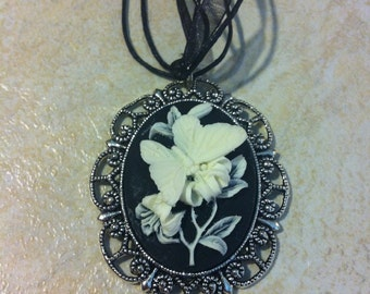 White and Black Butterfly Cameo Ladies Silver Filegre art designer Necklace Pendant Mothers Day