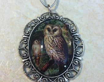 Owl Bird Cameo Ladies Silver Filegre art designer Necklace Pendant Mothers Day