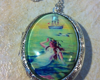 Kawaii Locket Glass Nautical Mermaid Princess Art Cameo Ladies Silver Filegre art designer Necklace Pendant