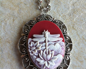 Ruby Red Dragonfly Water Lily Vintage Cameo Necklace Pendant Vintage Victorian Style Cameo Scarf Purse Charm