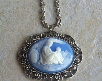 Victorian Vintage mother & child Cameo Necklace Pendant Vintage Victorian Style Cameo Scarf Purse Charm