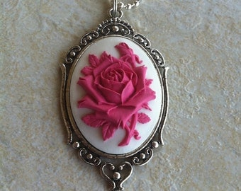 Hot Pink and White Cameo Ladies Silver Filegre art designer Necklace Pendant Wedding party