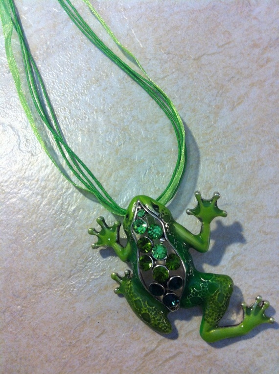 Frog Cruise Vacation Enamel Green Crystals Necklace PendantToad Prince Charming Spring