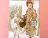 Adorable Victorian Scrap-Little Girl With St Bernard Carrying Her Basket