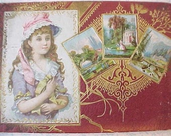 Charming 1897 Victorian Autograph Book with Pretty Embossed Cover
