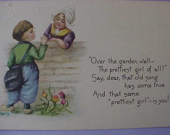 "Sweet 1900 Era Postcard with Little Dutch Children-""Prettiest Girl"""
