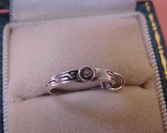Adorable Vintage Sterling Silver Engagement Ring Charm