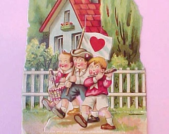 Sweet 1920's German Valentine Card-Darling Children In Front of Quaint Cottage with Picket Fence