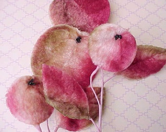 Lovely Vintage Velvet Millinery Trim of Fruits in Shades of Pinks and Mossy Green