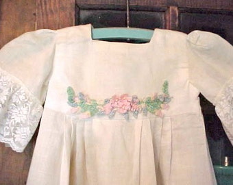 Beautiful Antique Linen Child's Dress with Gorgeous Silk Floral Swag and Pink Satin Rosebuds