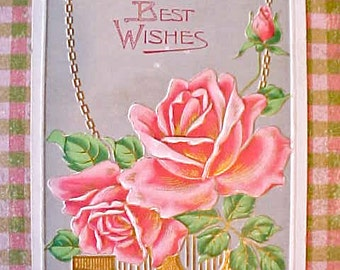 Lovely Art Nouveau Era Postcard with Peachy Pink Roses