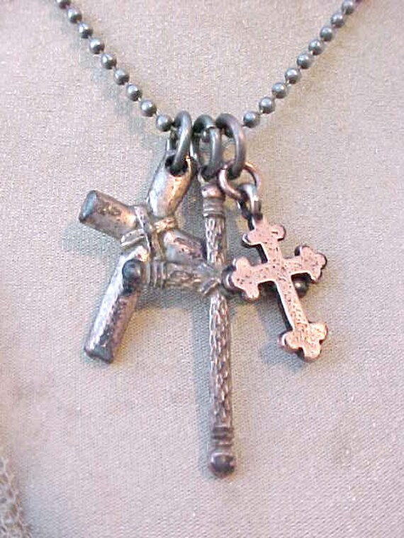 Vintage Estate Ball Chain Necklace with 3 Old Crosses
