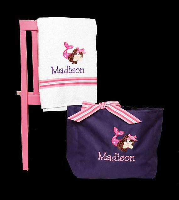 Swim Lesson Bag: Items Similar To Girls Swim Tote And Beach Towel, Mermaid