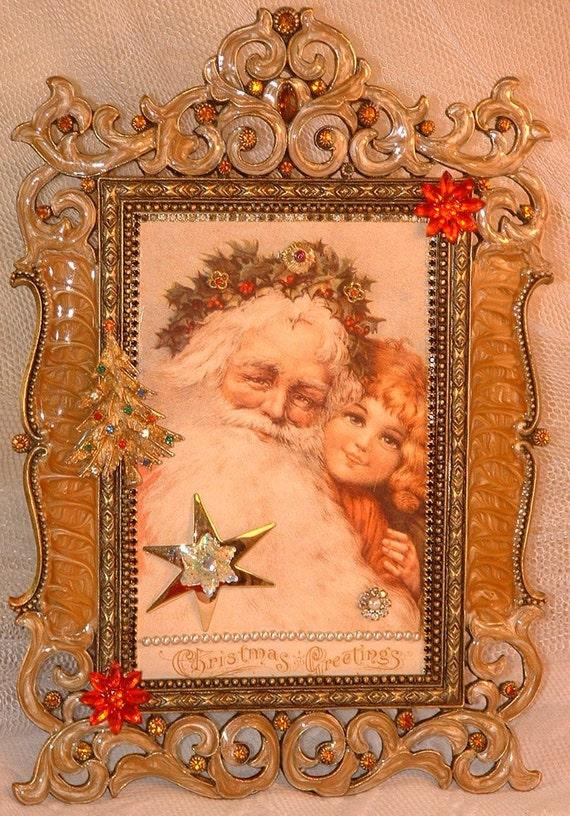 Vintage Jewelry Embellished Framed Christmas Postcard Santa & Little Girl