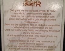 Laser Engraved Car Salesman Prayer Plaque