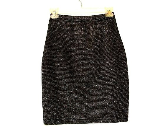 SALE- Vintage 80s 90s Sparkly Black Body Con Mini Skirt- Made In France- Size S