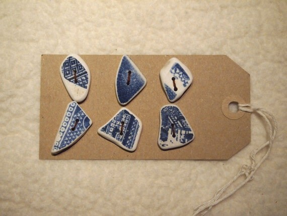 6 x Scottish Beached Patterned Pottery Buttons