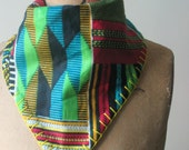 MAX- Reversible Kente/Heather gray Jersey Bandana Bib