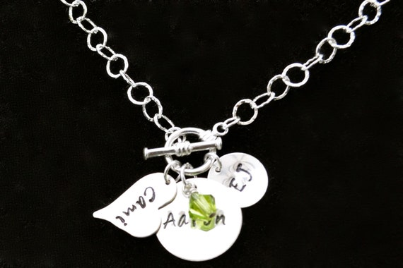 Sterling Silver Toggle Clasp Front Necklace Hand Stamped,Personalized Jewelry, Birthstone, Bridesmaid, Mother, Sister, Casual, Wedding Jewel