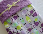 RESERVED for Bree- Night Owls Baby Blanket- Purple, Lavender, Aqua, Lime Green Night Owl Minky Baby Blanket With Dot Minky