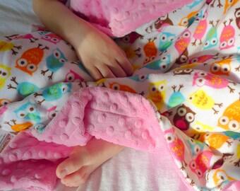 Baby Blanket - Owl Baby Blanket - Minky Baby Blanket - Baby Girl Blanket - Girl Baby Blanket - Baby Shower Gift