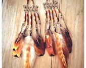 sowelu. chandelier feather & wood earrings. 'made to order'