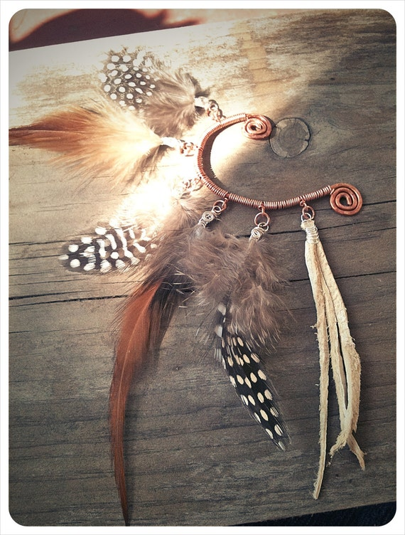 west bound highway. a tribal feathered ear cuff. 'made to order'