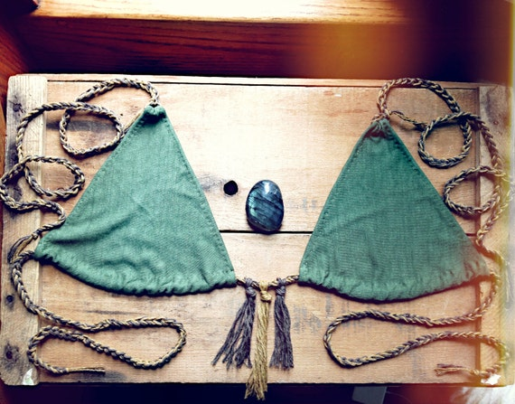 bikini top. organic bamboo hemp blend. hand dyed color- kale. 'made to order'