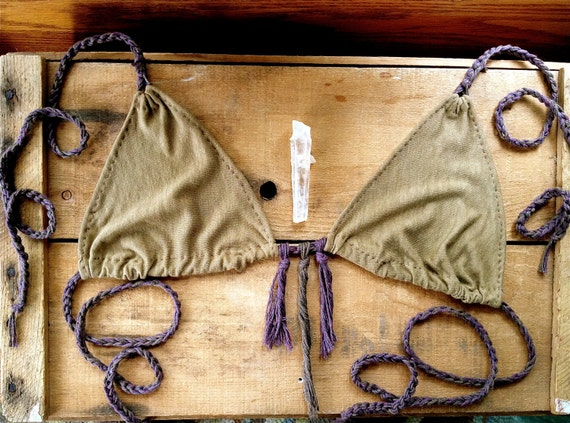bikini top. organic bamboo hemp blend. hand dyed color- sable. 'made to order'