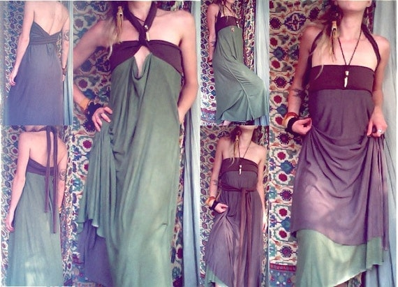 foreign one. convertible reversible travel dress. organic bamboo hemp blend.  'made to order'