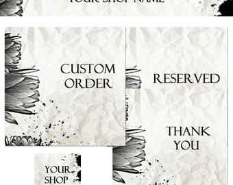 Premade Vintage Etsy Shop Set Banners and Avatars - Classic Tulip Creased Textured Effect cover banner