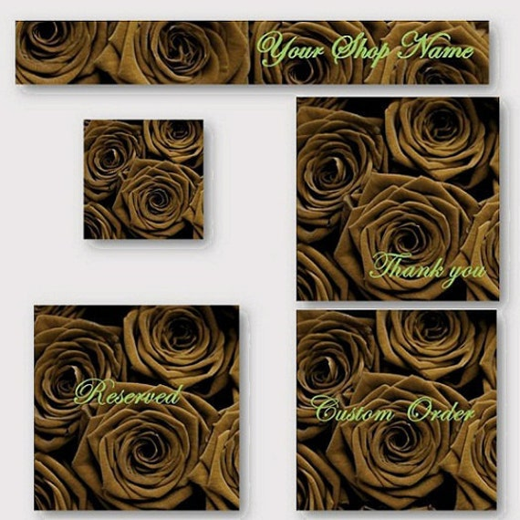 Premade Etsy Shop Banner and Avatar Set -Classy Chocolate Roses cover banner